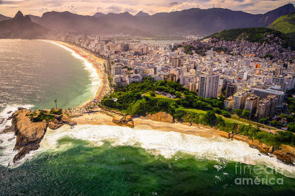 Waters Edge Wall Art - Photograph - Aerial View Of Buildings On The Beach by Celso Diniz
