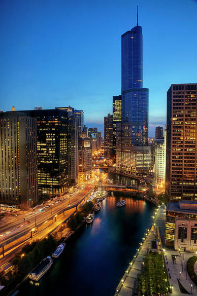 Skyline Drive Photograph - Aerial View Of Chicago River And Wacker by Garry Black