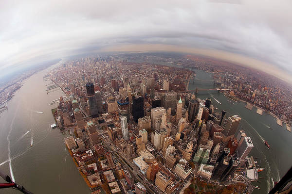 Fish Eye Lens Photograph - Aerial View Of City by Eric Bowers Photo