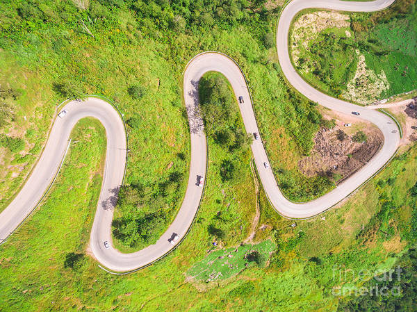 Wall Art - Photograph - Aerial View Of Crooked Path Of Road On by Naypong Studio