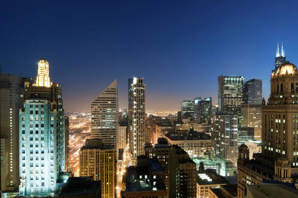 Willis Tower Photograph - Aerial View Of Downtown Chicago At by Chrisp0