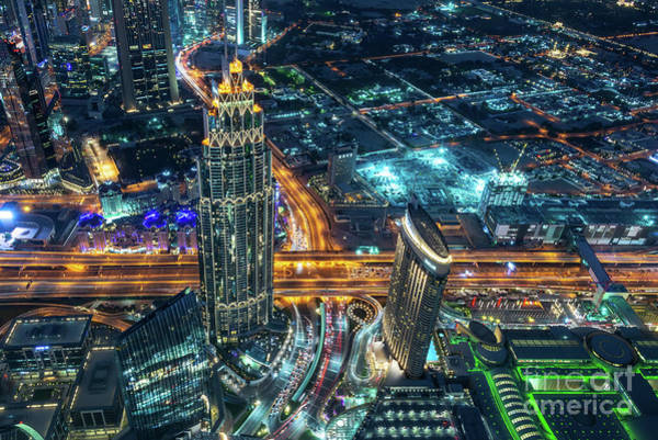 Wall Art - Photograph - Aerial View Of Dubai At Night by Delphimages Photo Creations
