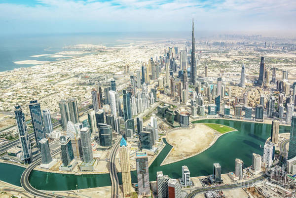 Wall Art - Photograph - Aerial View Of Dubai by Delphimages Photo Creations