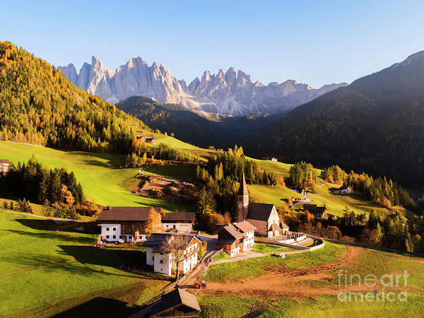 Wall Art - Photograph - Aerial View Of Famous Town In Autumn, Dolomites, Italy by Matteo Colombo