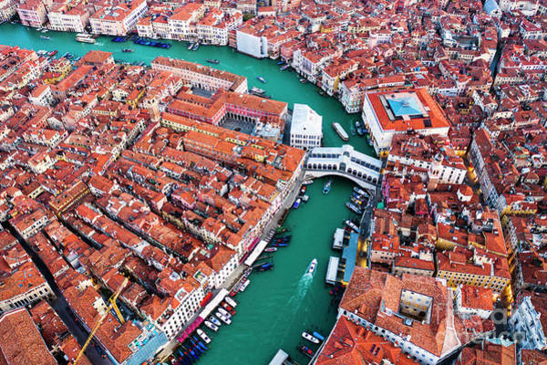 Wall Art - Photograph - Aerial View Of Grand Canal And Rialto Bridge, Venice, Italy by Matteo Colombo