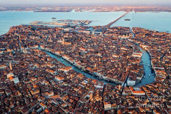 Wall Art - Photograph - Aerial View Of Grand Canal, Venice, Italy by Matteo Colombo