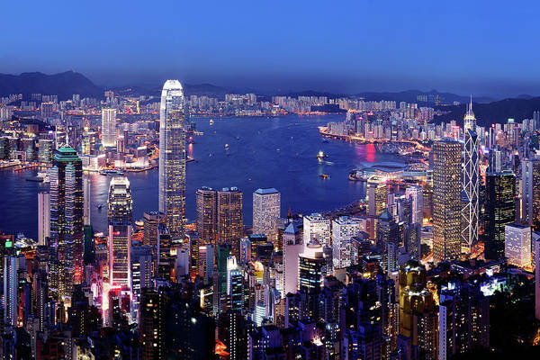 Central Business District Wall Art - Photograph - Aerial View Of Hong Kong Victoria by Samxmeg