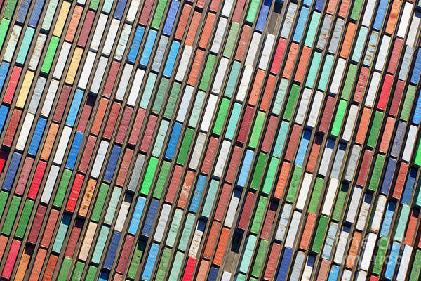 Freight Wall Art - Photograph - Aerial View Of Huge Area With Stacked by Oliver Hoffmann