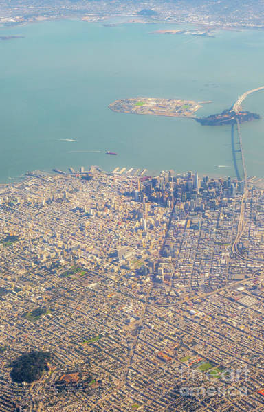 Photograph - Aerial View Of Large Bridge Leaving San Francisco With Sunny Day by PorqueNo Studios