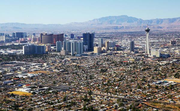 Suburbs Photograph - Aerial View Of Las Vegas Strip by Allan Baxter