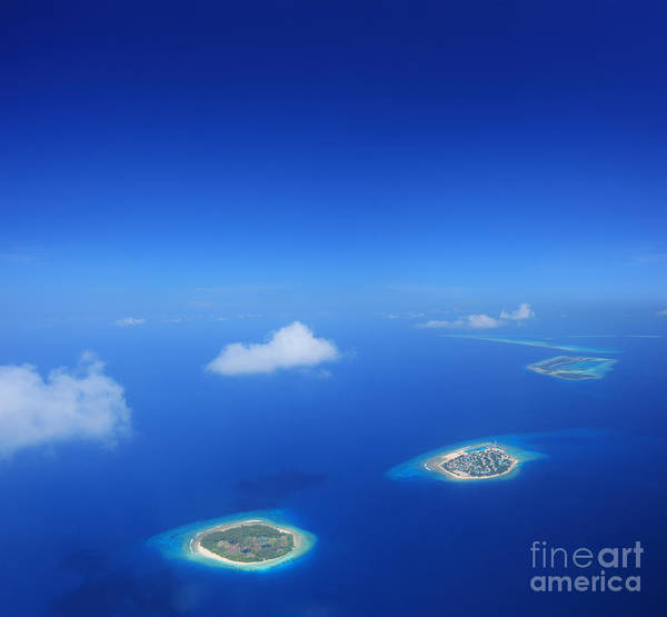Travel Destinations Wall Art - Photograph - Aerial View Of Maldives Islands In by Ljupco Smokovski