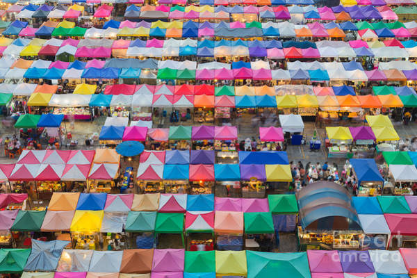 Wall Art - Photograph - Aerial View Of Multiple Color Roof To by Theoldhiro