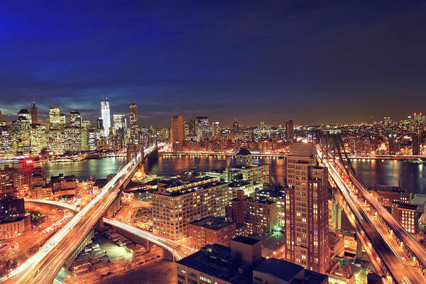 East Side Photograph - Aerial View Of New York City By Night by Pawel.gaul