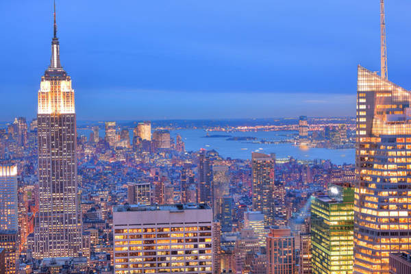 Looking Down Photograph - Aerial View Of  New York City With by Pawel.gaul