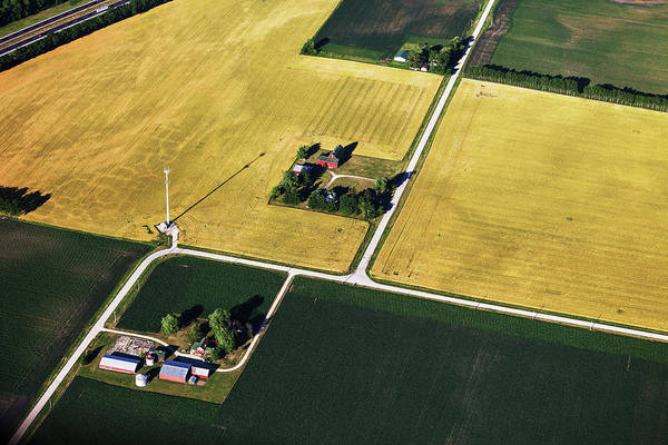 Photograph - Aerial View Of Northern Illinois Farms by Stevegeer