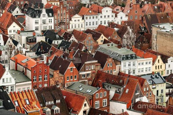 Tradition Photograph - Aerial View Of Old German Town Of Lubeck by Boris Stroujko