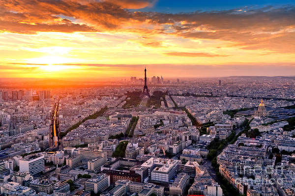 Wall Art - Photograph - Aerial View Of Paris At Sunset by Interpixels