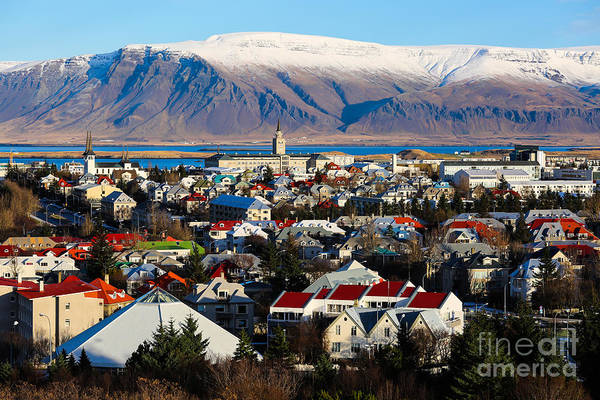 Wall Art - Photograph - Aerial View Of Reykjavik, Iceland With by Philip Ho