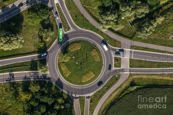 Route Photograph - Aerial View Of Roundabout In Wroclaw by Mariusz Szczygiel