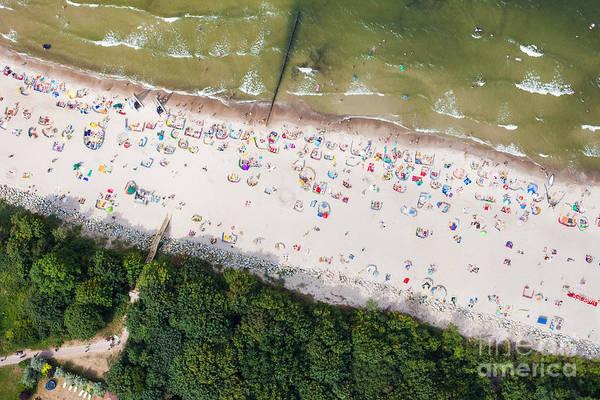 Wall Art - Photograph - Aerial View Of Sandy Polish Beach On by Mariusz Szczygiel