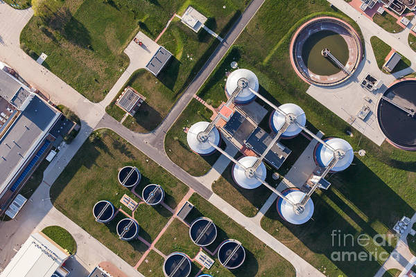 Wall Art - Photograph - Aerial View Of Sewage Treatment Plant by Mariusz Szczygiel