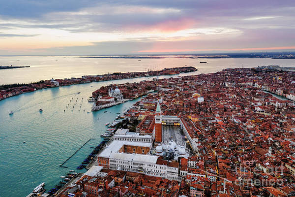 Wall Art - Photograph - Aerial View Of Sunset In Venice, Veneto, Italy by Matteo Colombo