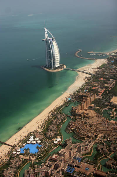 Luxury Hotel Photograph - Aerial View Of The 7 Star Burj Al Arab by Wouter Kingma