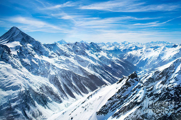 Aerial View Of The Alps Mountains In Art Print
