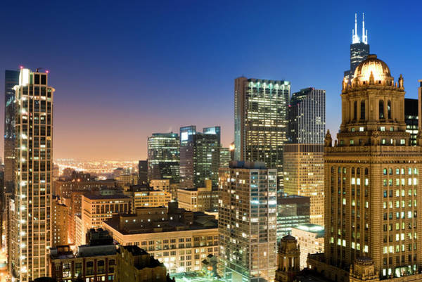 Willis Tower Photograph - Aerial View Of The Chicago Loop At Dusk by Chrisp0