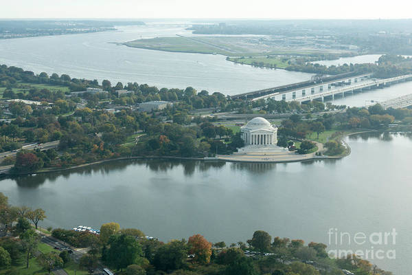 Photograph - Aerial View Of The Jefferson Memorial, Potomac River And Tidal B by William Kuta