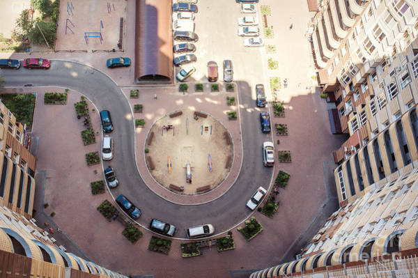 Wall Art - Photograph - Aerial View Of The Lot Of Cars Near by Tymonko Galyna
