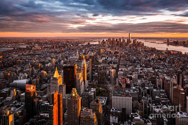 Landmark Wall Art - Photograph - Aerial View Of The Manhattan Skyline At by Mandritoiu