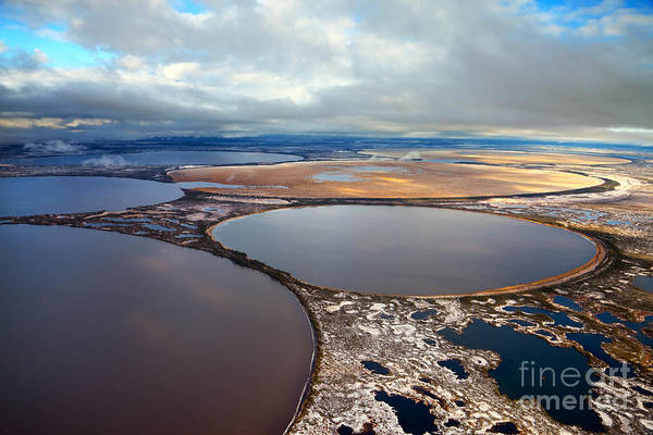 Waters Edge Wall Art - Photograph - Aerial View Of The Some Round Lakes On by Vladimir Melnikov