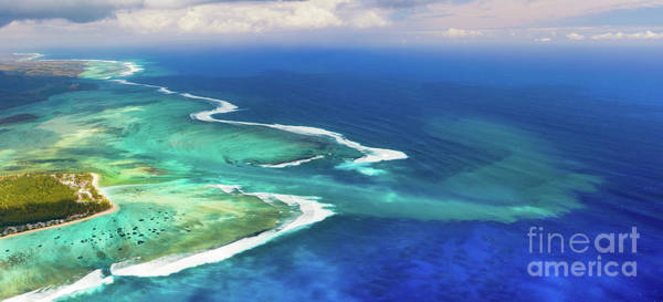 Wall Art - Photograph - Aerial View Of The Underwater Waterfall. Mauritius. Panorama by MotHaiBaPhoto Prints