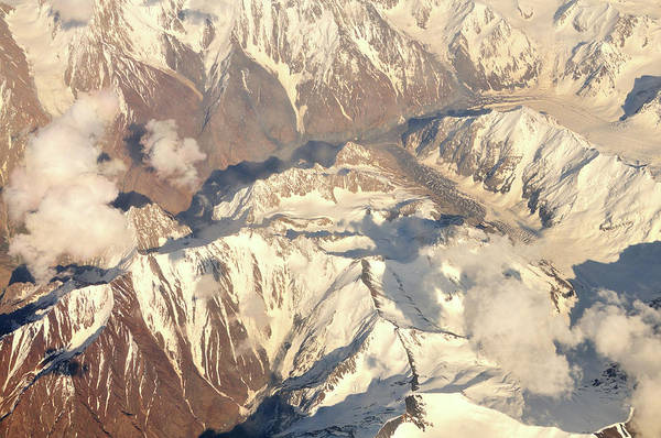 Wall Art - Photograph - Aerial View Of Tian Shan Mountain Range by Hhakim