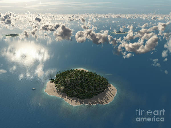 Wall Art - Digital Art - Aerial View Of Tropical Island by Photobank Gallery