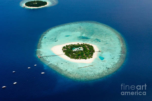 Reef Photograph - Aerial View Of Two Maldive Islands And by Arttomcat