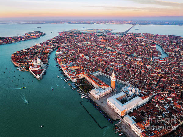 Wall Art - Photograph - Aerial View Of Venice At Sunset, Italy by Matteo Colombo