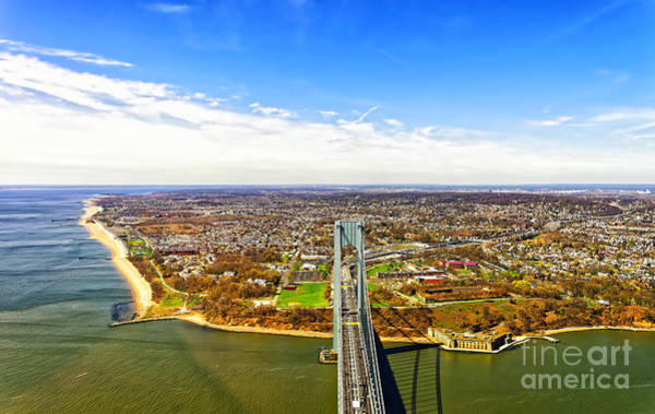 Landmark Wall Art - Photograph - Aerial View Of Verrazano-narrows Bridge by Roman Babakin