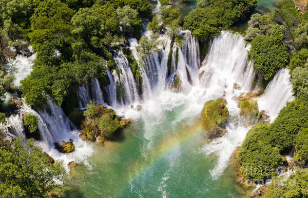 Wall Art - Photograph - Aerial View Of Waterfall With Rainbow by Studio Hrg