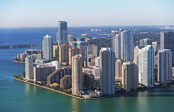 Dade Photograph - Aerial View Of Waterfront City by Fotog