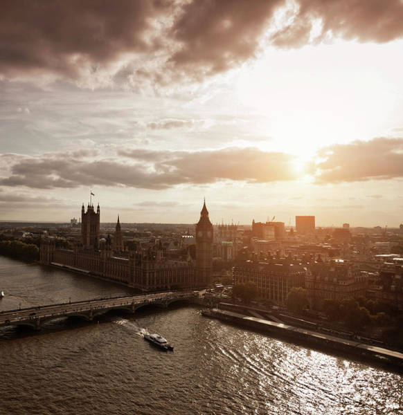 Wall Art - Photograph - Aerial View Of Westminster In London by Walter Zerla