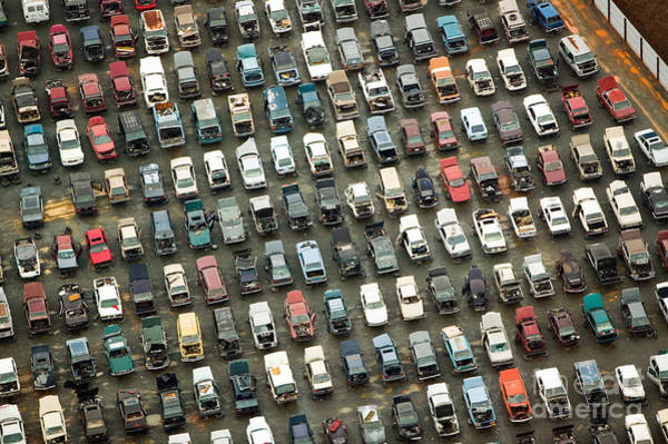 Charlotte Wall Art - Photograph - Aerial View Of Wrecked Cars In by Joseph Sohm