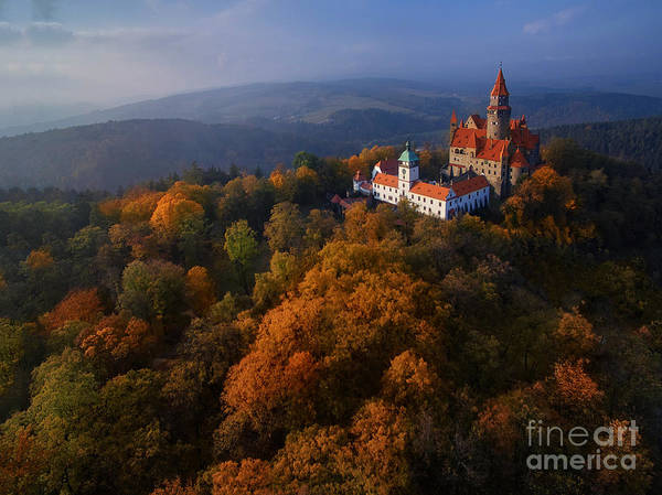 Wall Art - Photograph - Aerial View On Romantic Fairy Castle In by Martin Mecnarowski