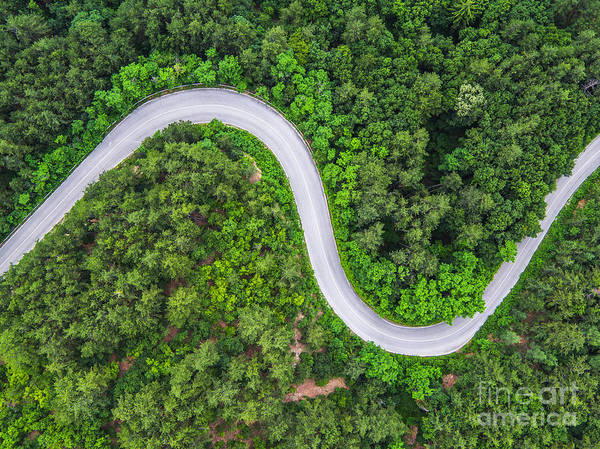 Route Photograph - Aerial View Over Mountain Road Going by Valentin Valkov
