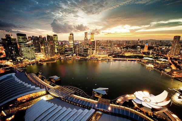 Quayside Photograph - Aerial View Over Singapore Marina Bay by Tomml