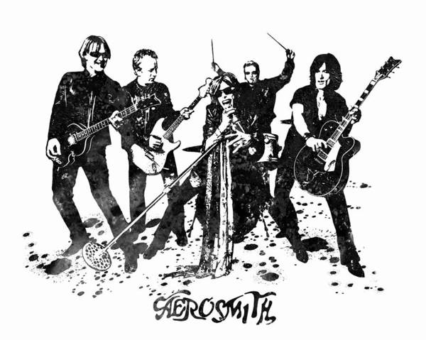 Steven Tyler Painting - Aerosmith Band Black And White Watercolor 02 by JESP Art and Decor