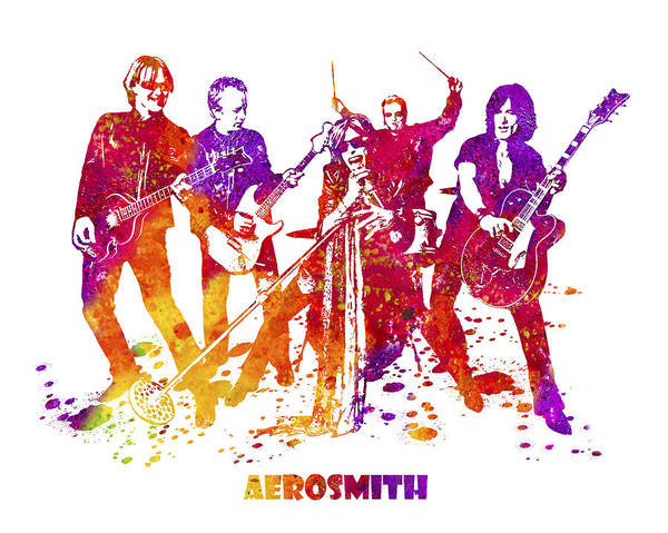 Steven Tyler Painting - Aerosmith Band Watercolor Splatter 03 by JESP Art and Decor