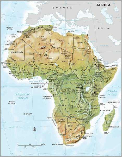 Relief Digital Art - Africa Continent Map With Relief by Globe Turner, Llc