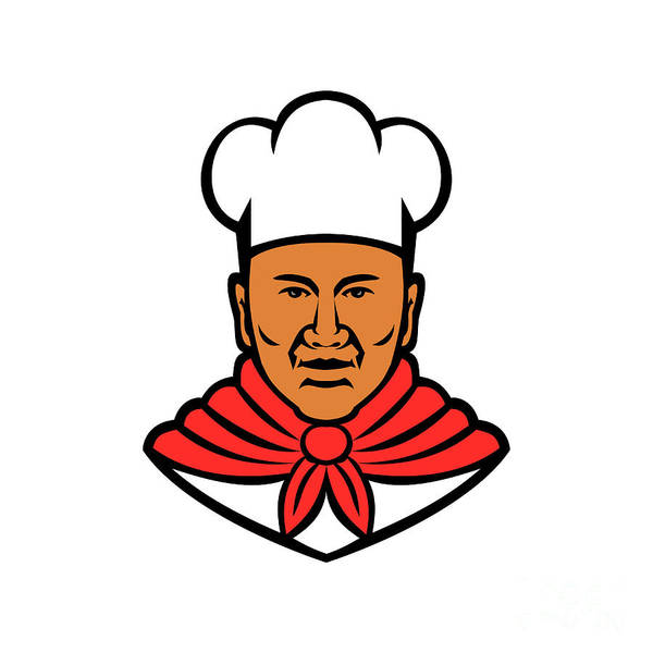 Wall Art - Digital Art - African American Baker Chef Cook Mascot by Aloysius Patrimonio